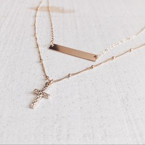 Jewelry - 14k Gold Filled Bar And Cross Dainty Necklace